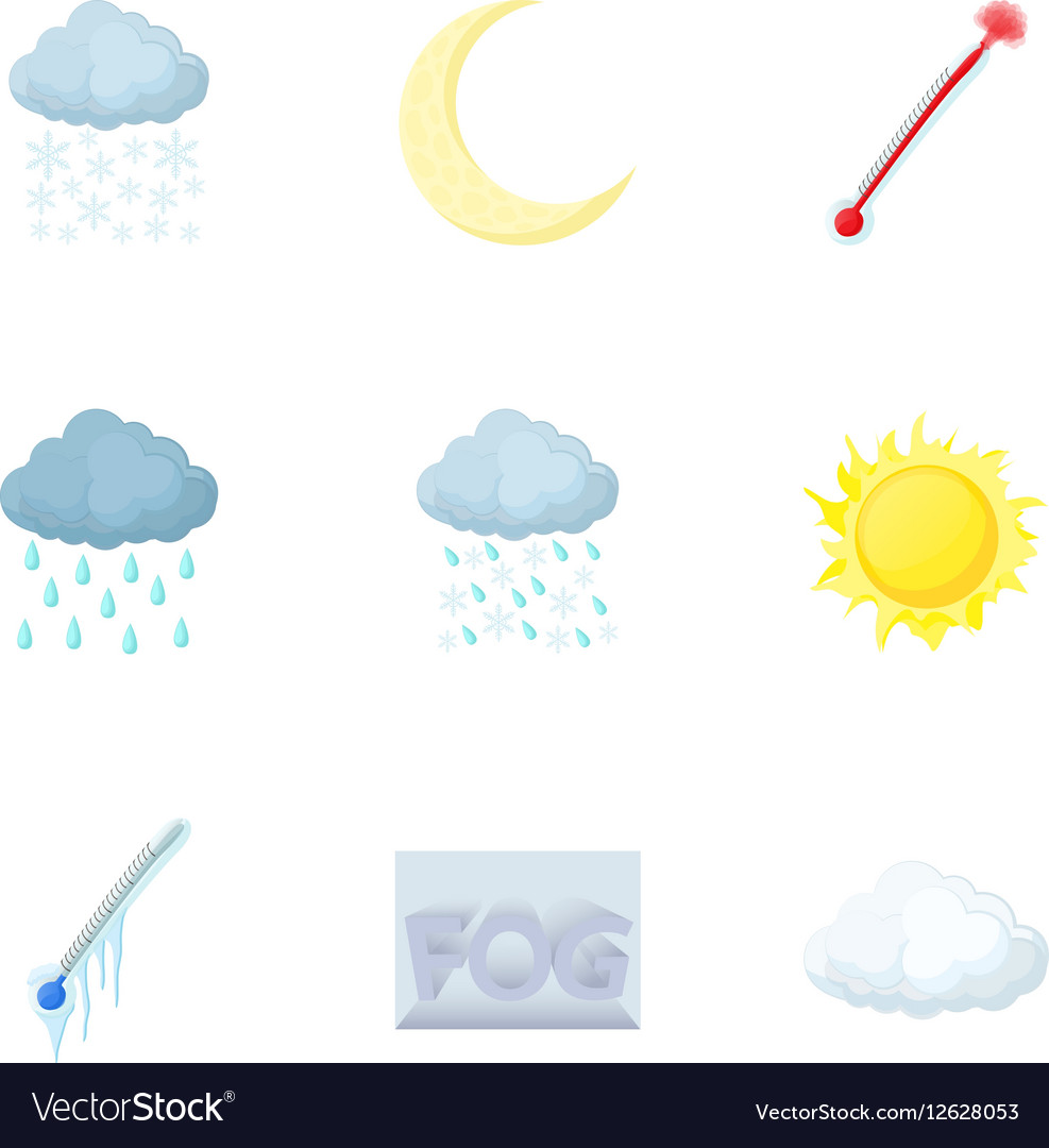 Kinds of weather icons set cartoon style vector image