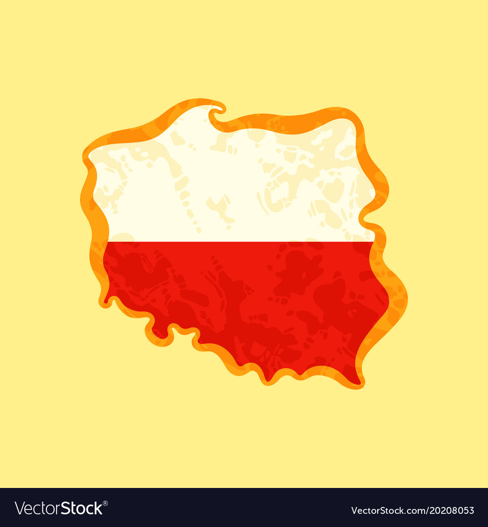 Poland - map colored with polish flag Royalty Free Vector