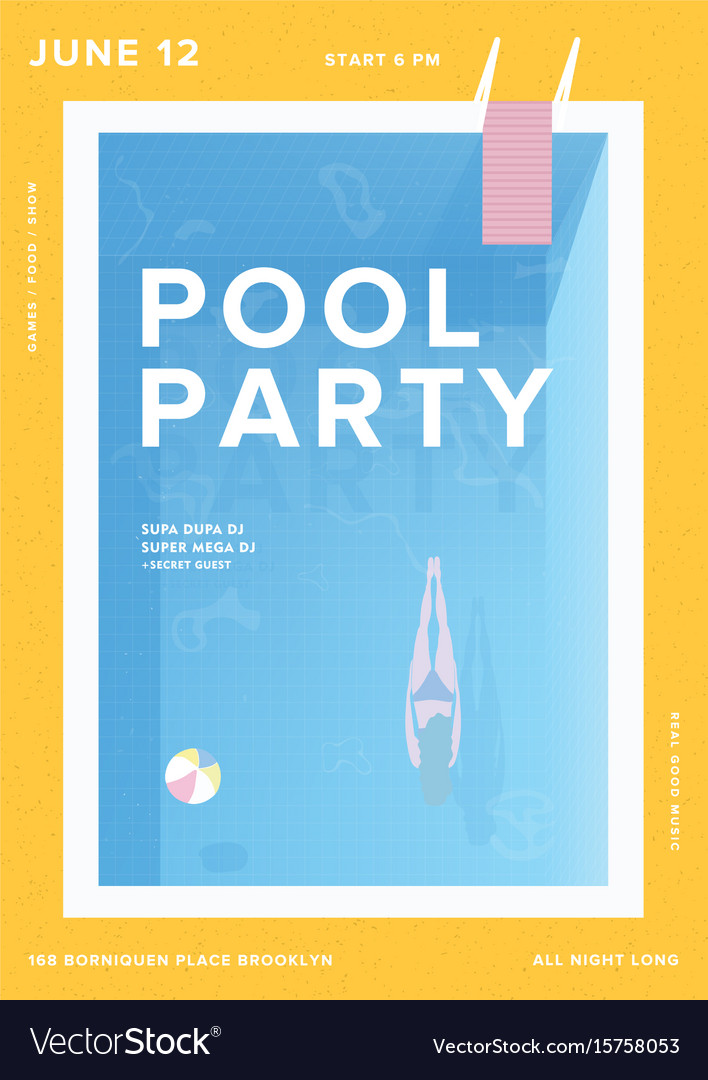 Pool party vertical poster open-air summer event