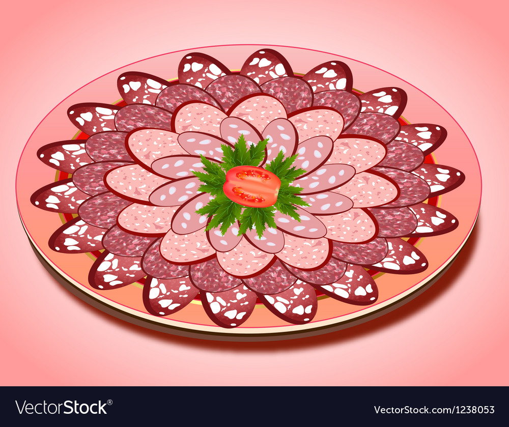 Set of sausage slices on a plate vector image