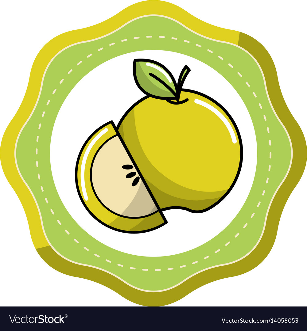 Sticker green apple fruit icon stock