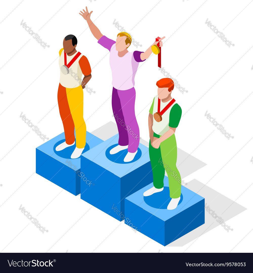 Winner Podium 2016 Sports Isometric 3D