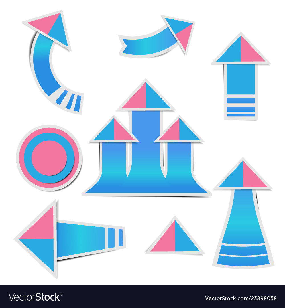 Blue paper arrow and pink paper pink stickers