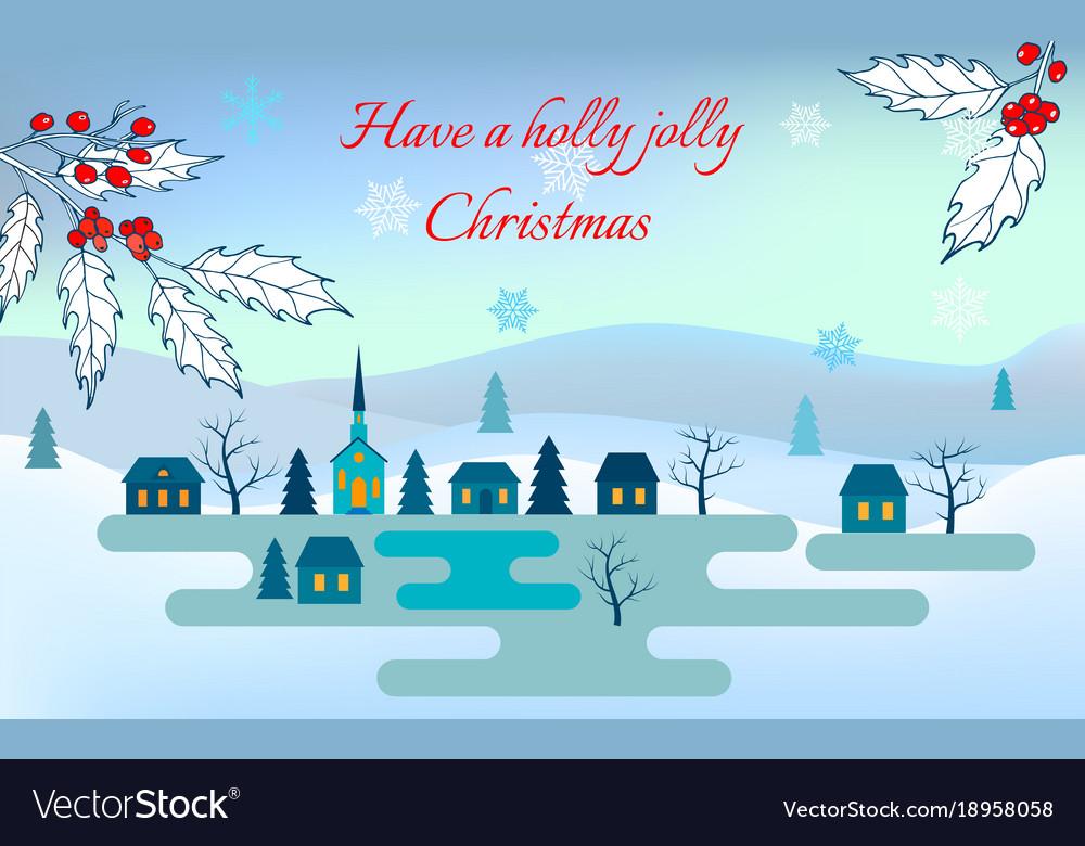 Christmas greeting card night winter landscape