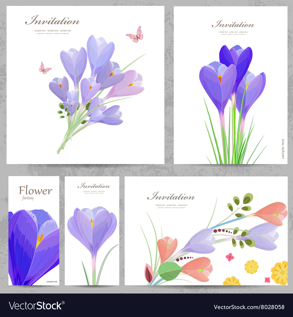 Collection invitation cards with crocus for your