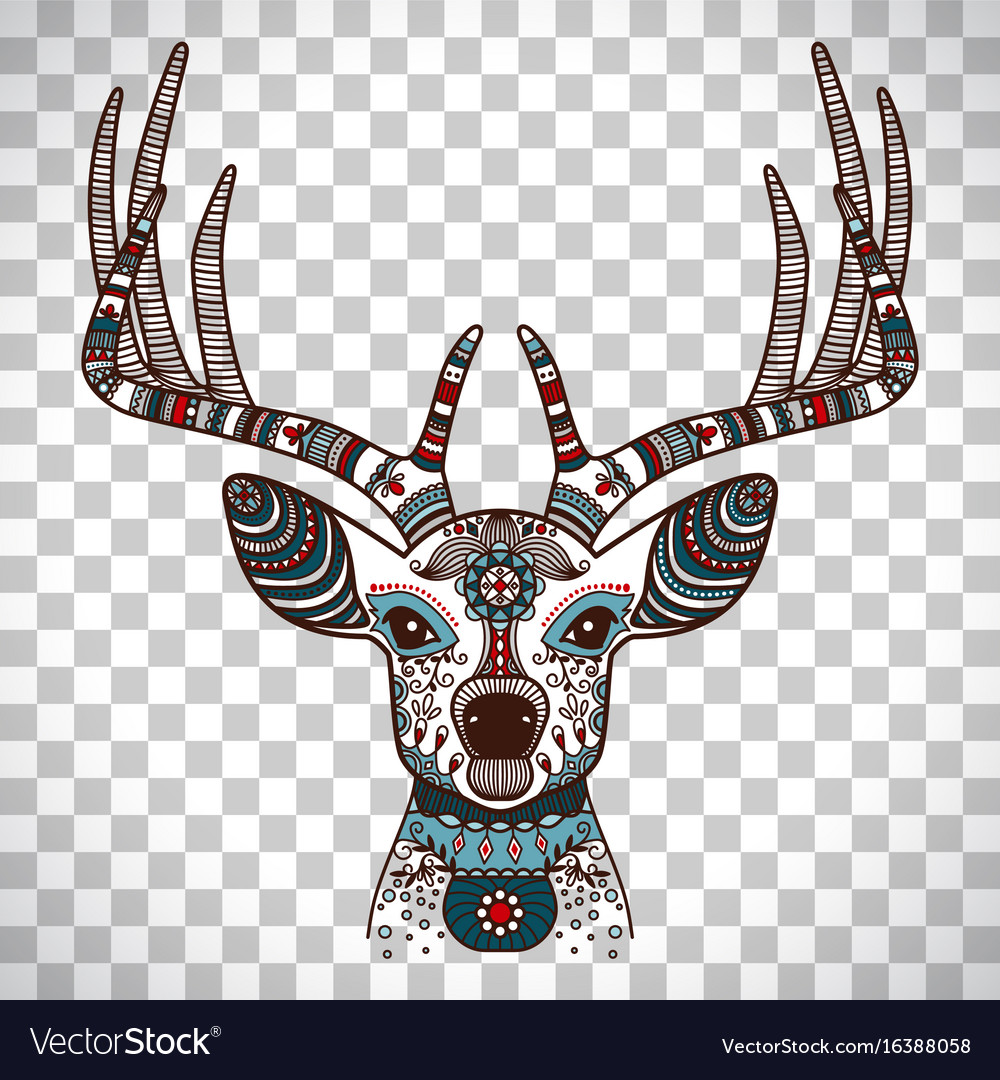 Colorful deer head with ethnic ornament