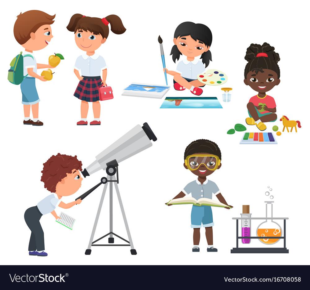 Cute pupils activity in school set little