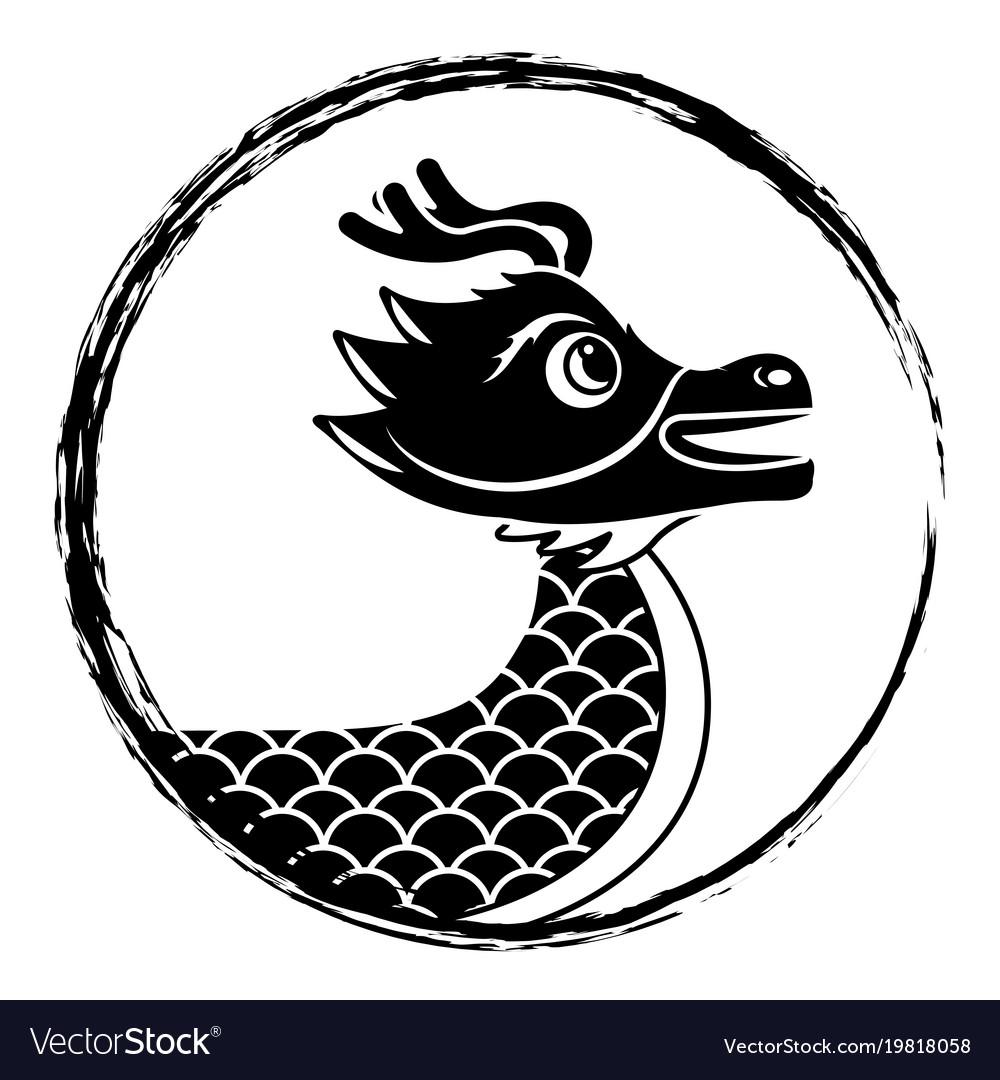 Drawing Black Chinese Dragon Symbol Royalty Free Vector