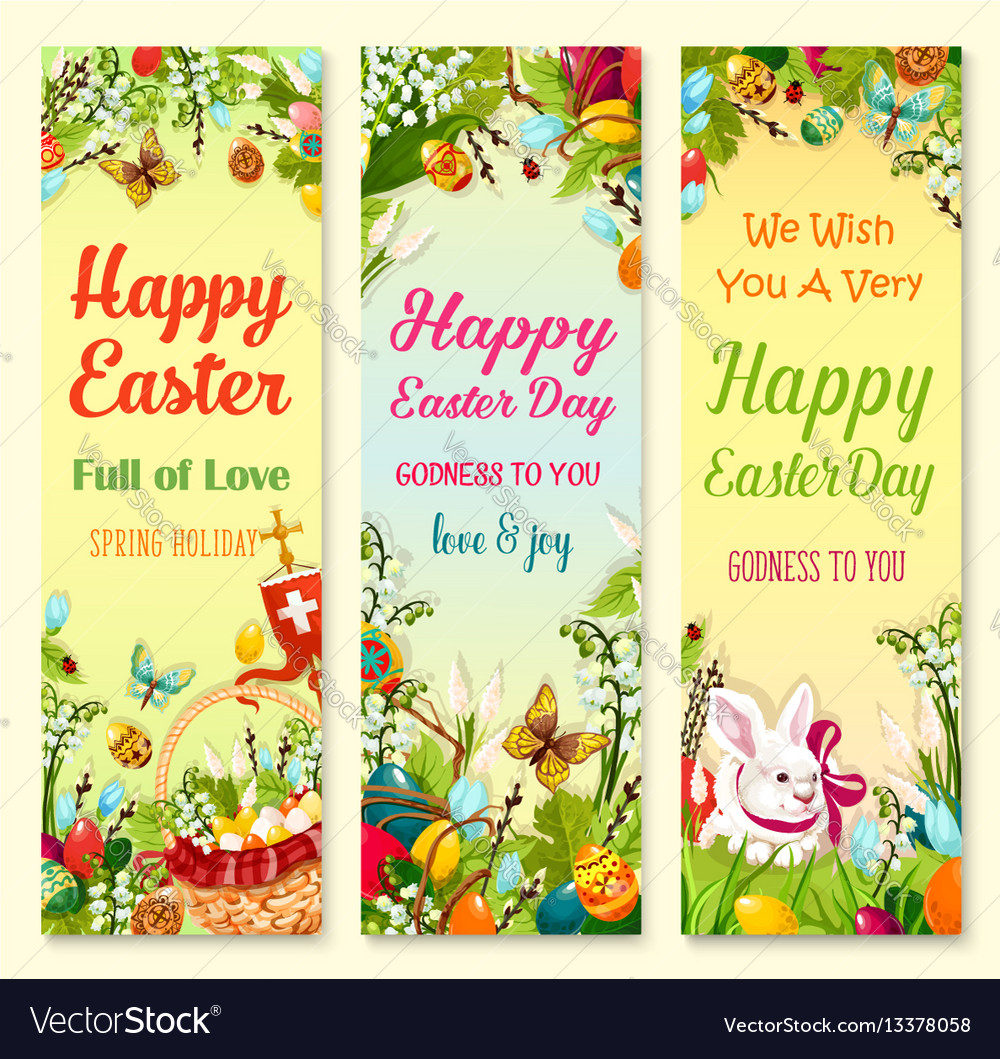 Easter Day Greetings Banner With Holiday Symbols Vector Image