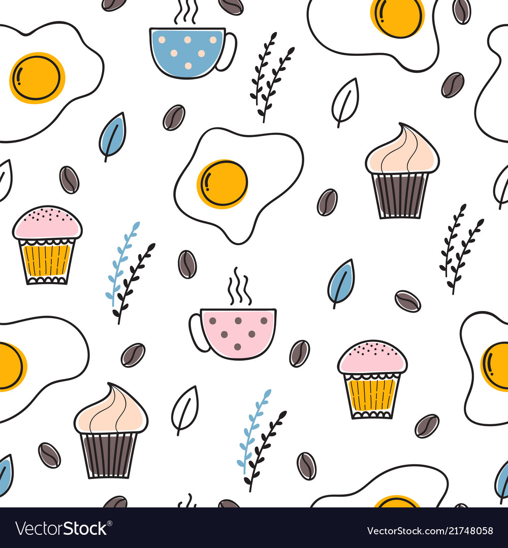 Hand drawn seamless pattern with fried eggs