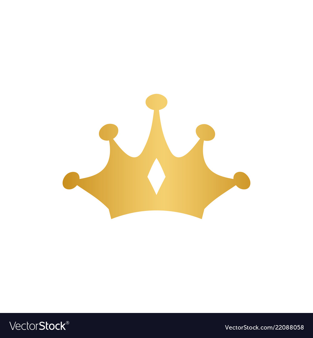 Luxury crown gold logo design template isolated