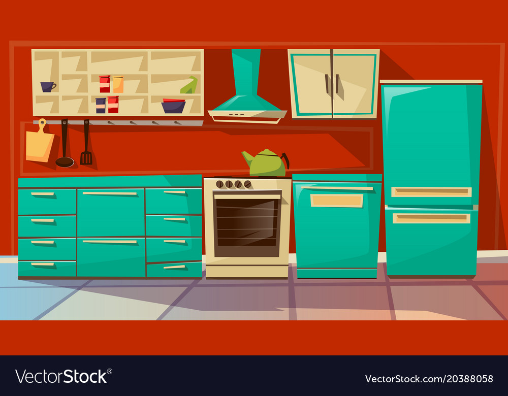Modern Kitchen Interior Background Cartoon Vector Image