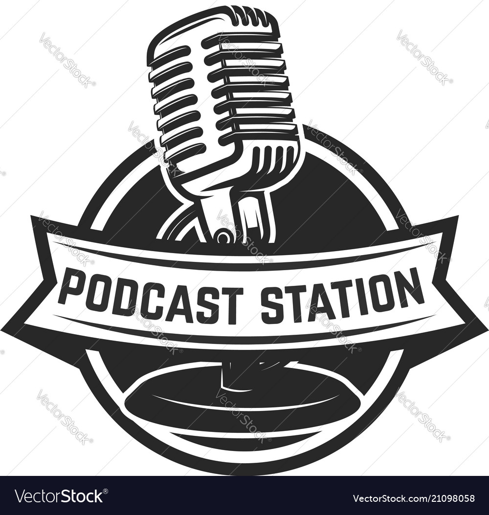 Podcast station emblem template with retro