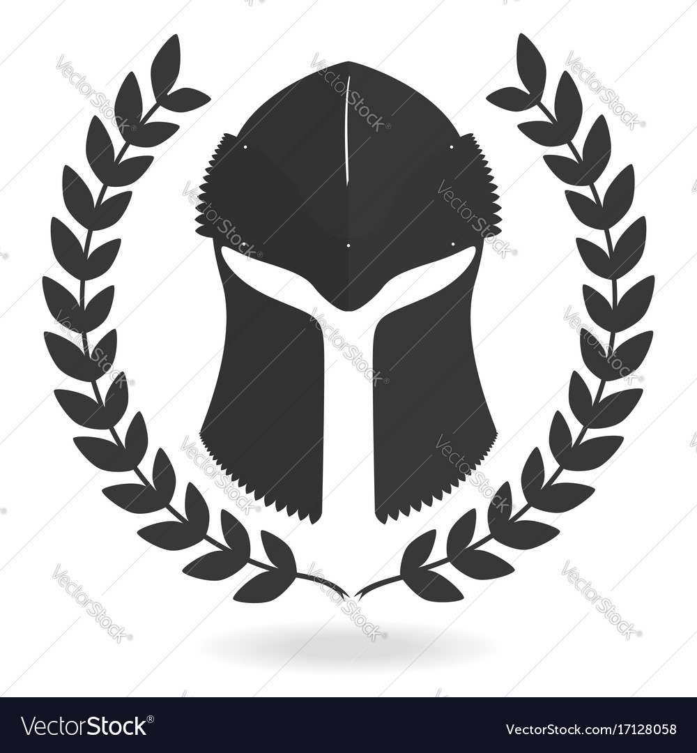 Spartan helmet silhouette with laurel wreath