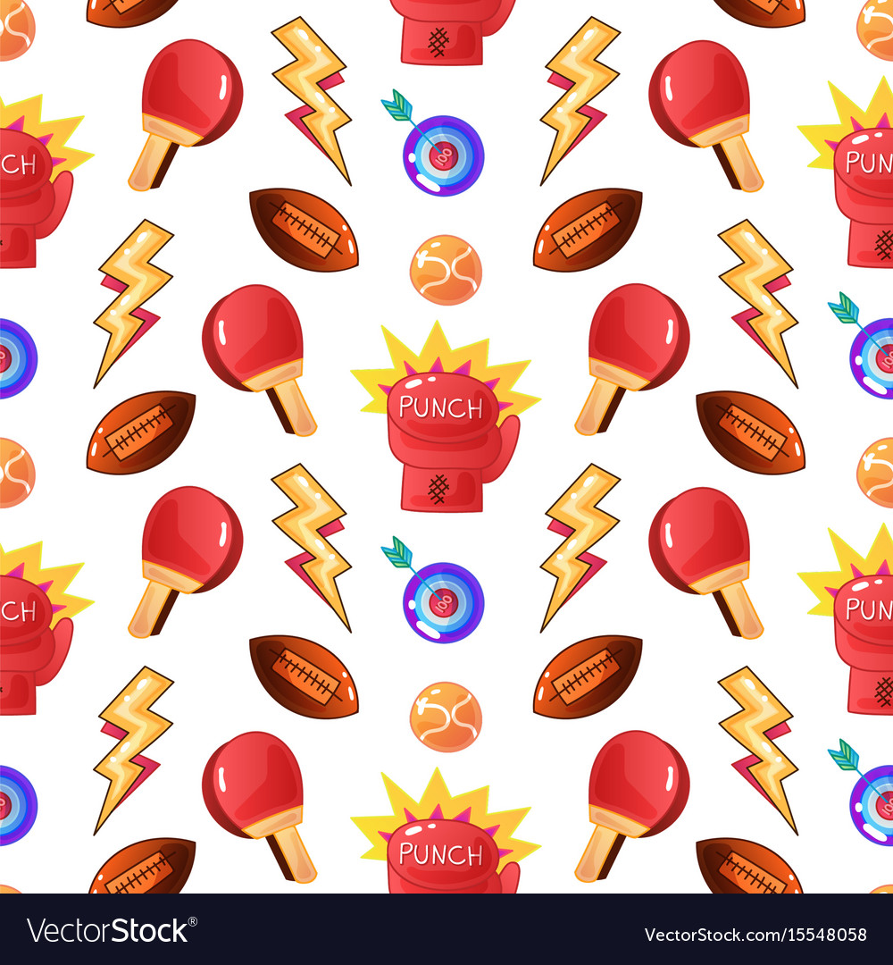 Sports patch elements seamless pattern vector image