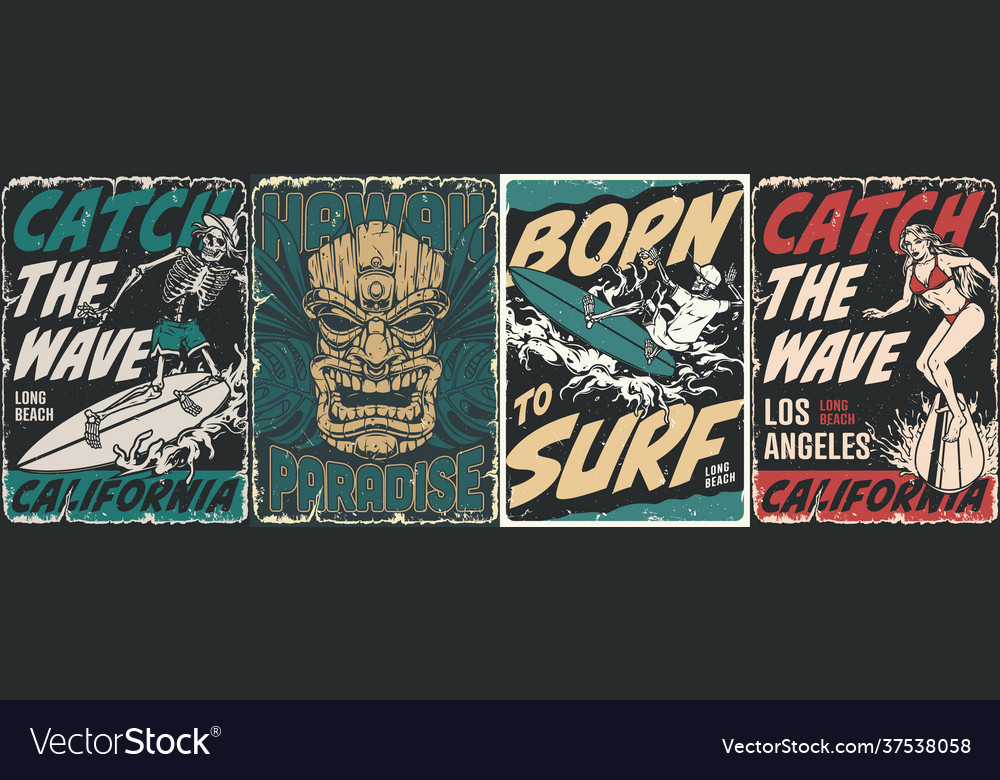 Surfing vintage posters collection