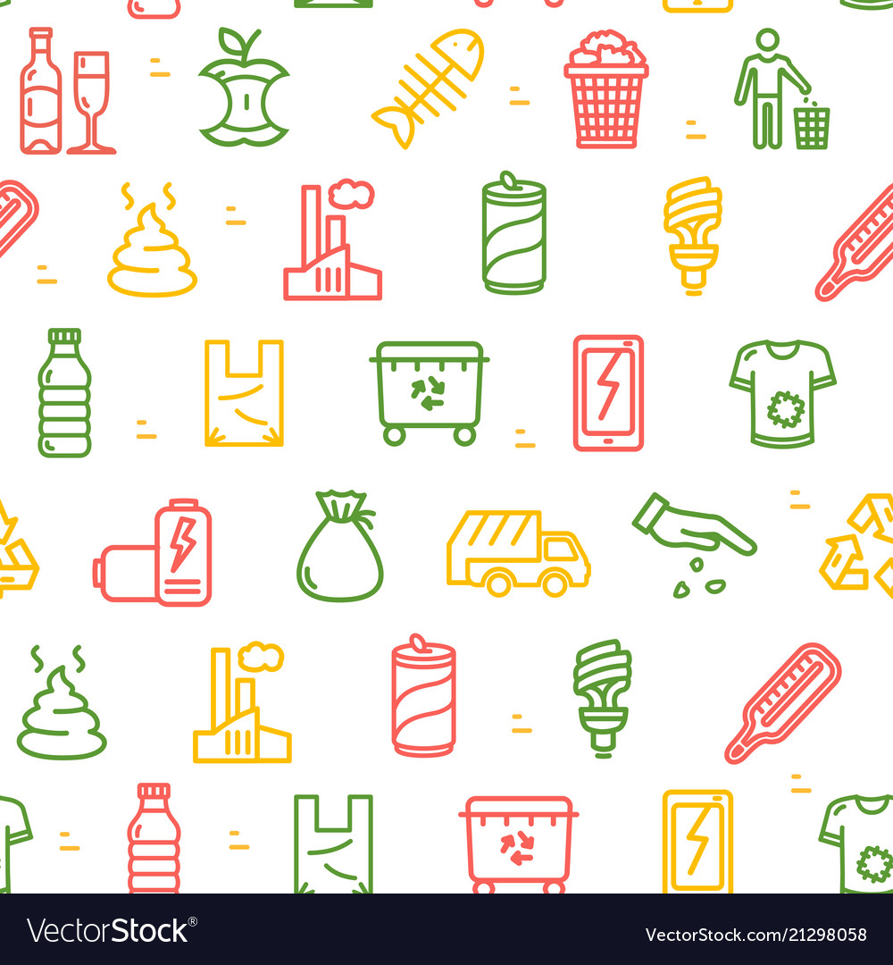 Trash signs seamless pattern background