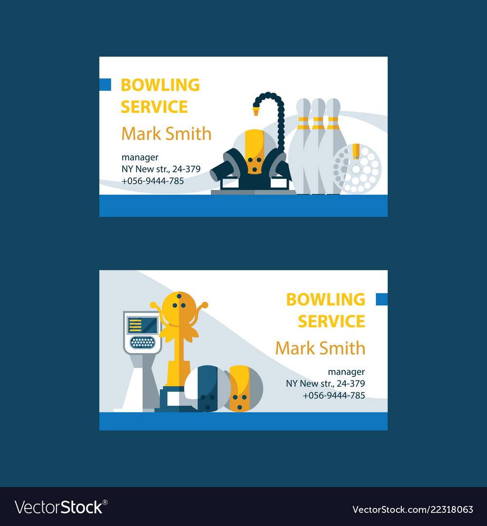 Business cards for bowling service center