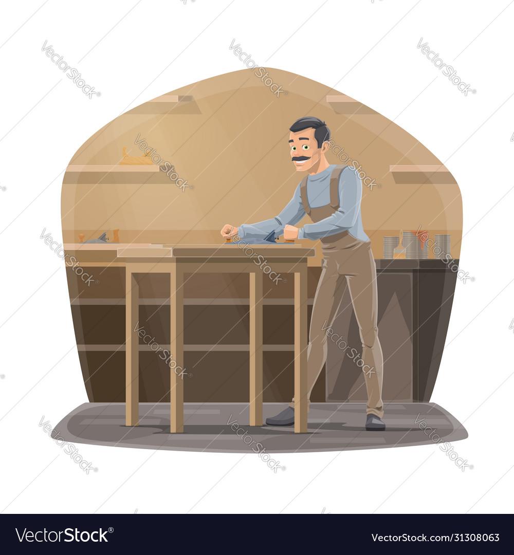 Carpenter with plane working in workshop
