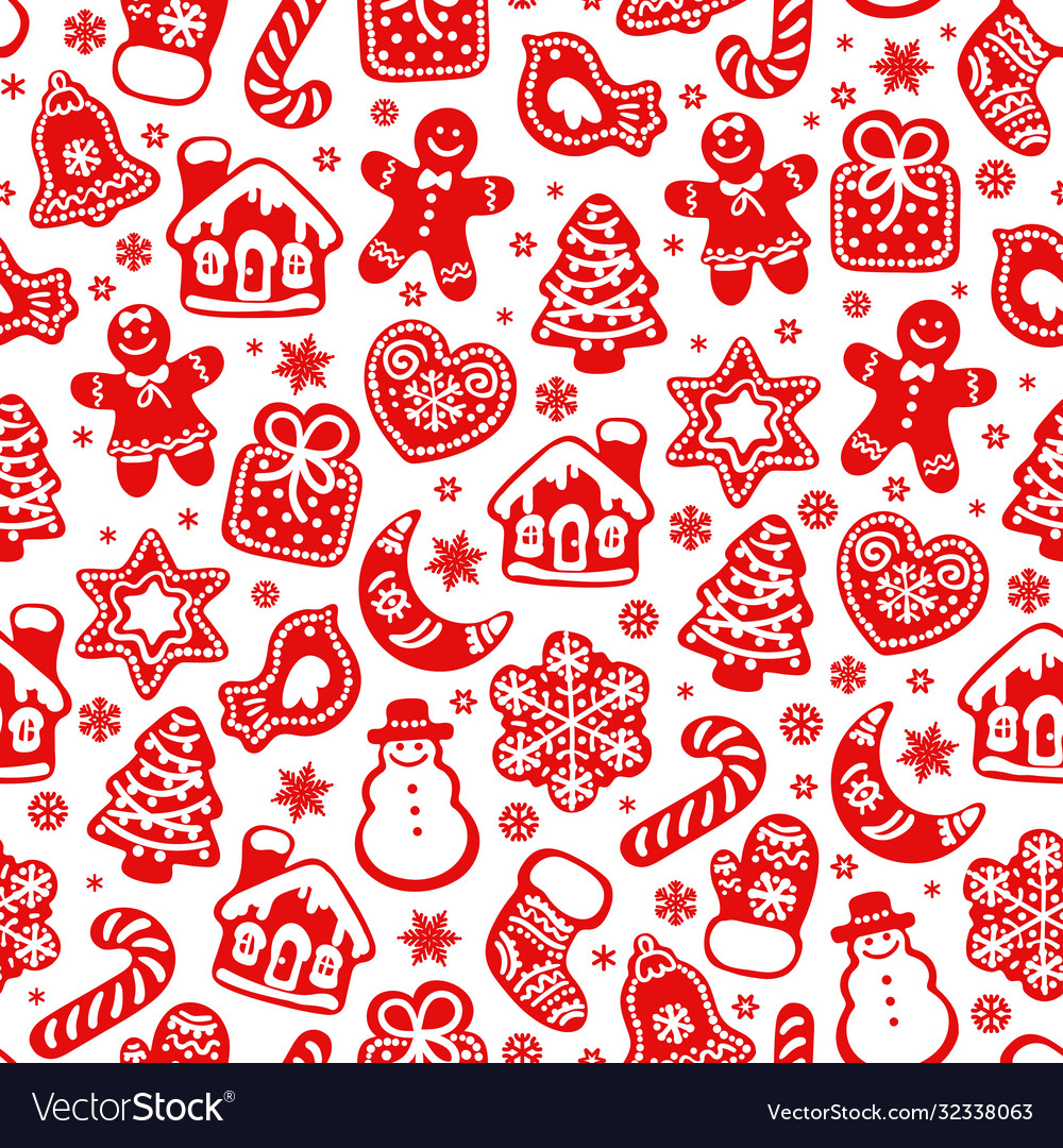 Christmas and new year seamless pattern red