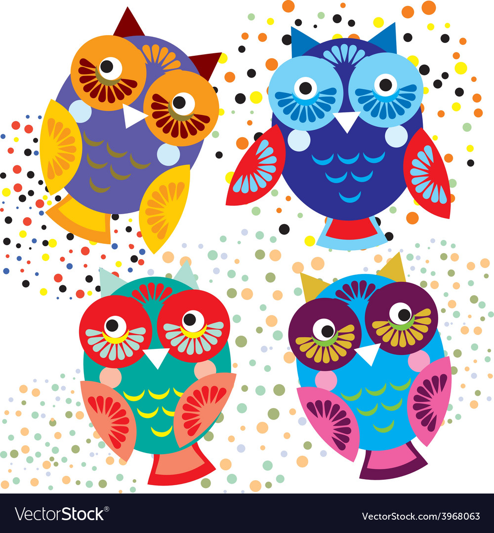 Four Bright Colorful Owls Set Royalty Free Vector Image