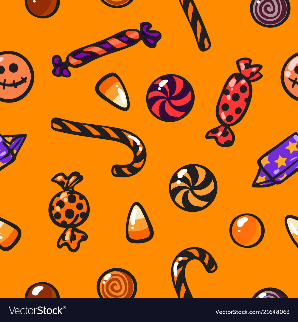 Halloween seamless pattern with cartoon candies on
