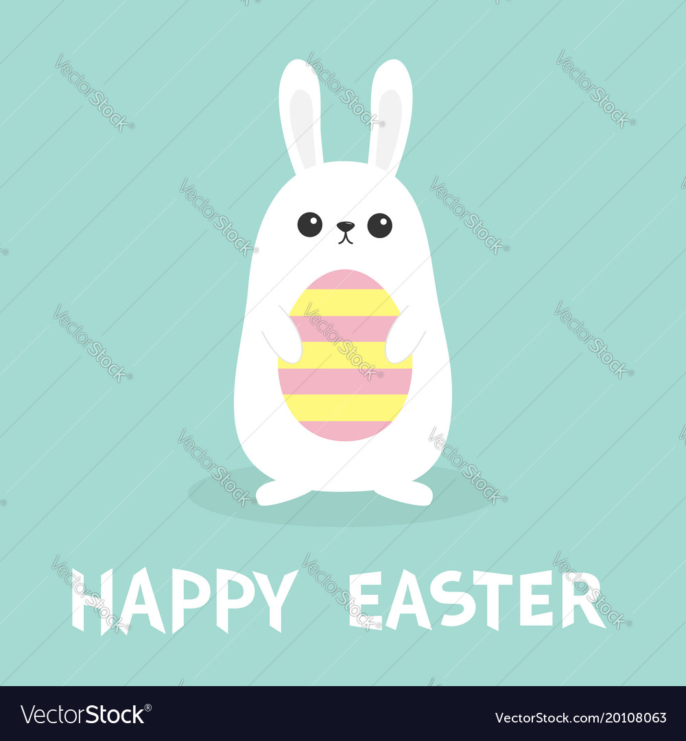 Happy easter white bunny rabbit holding painted