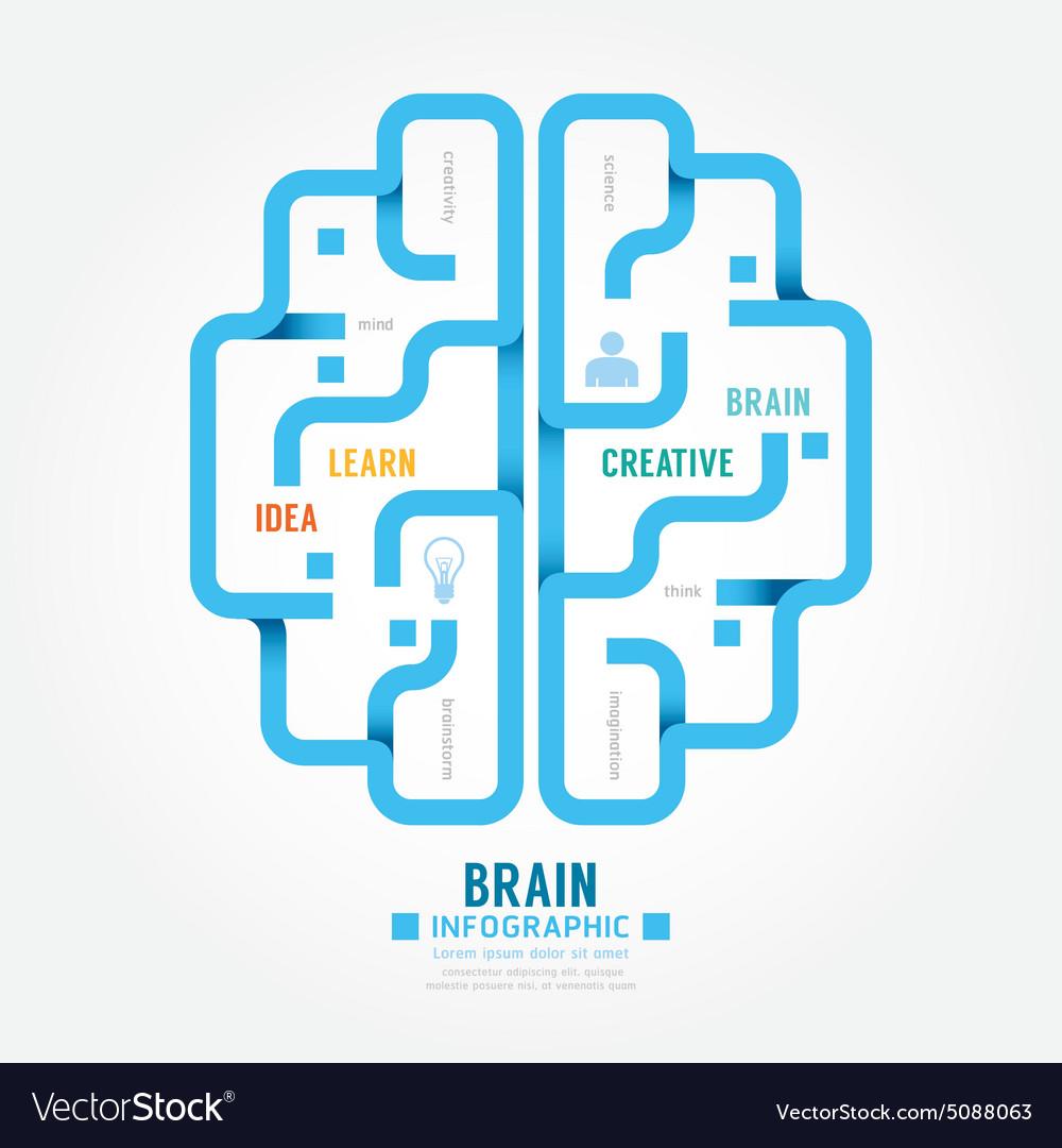 Infographics blue paper brain design diagram line vector image
