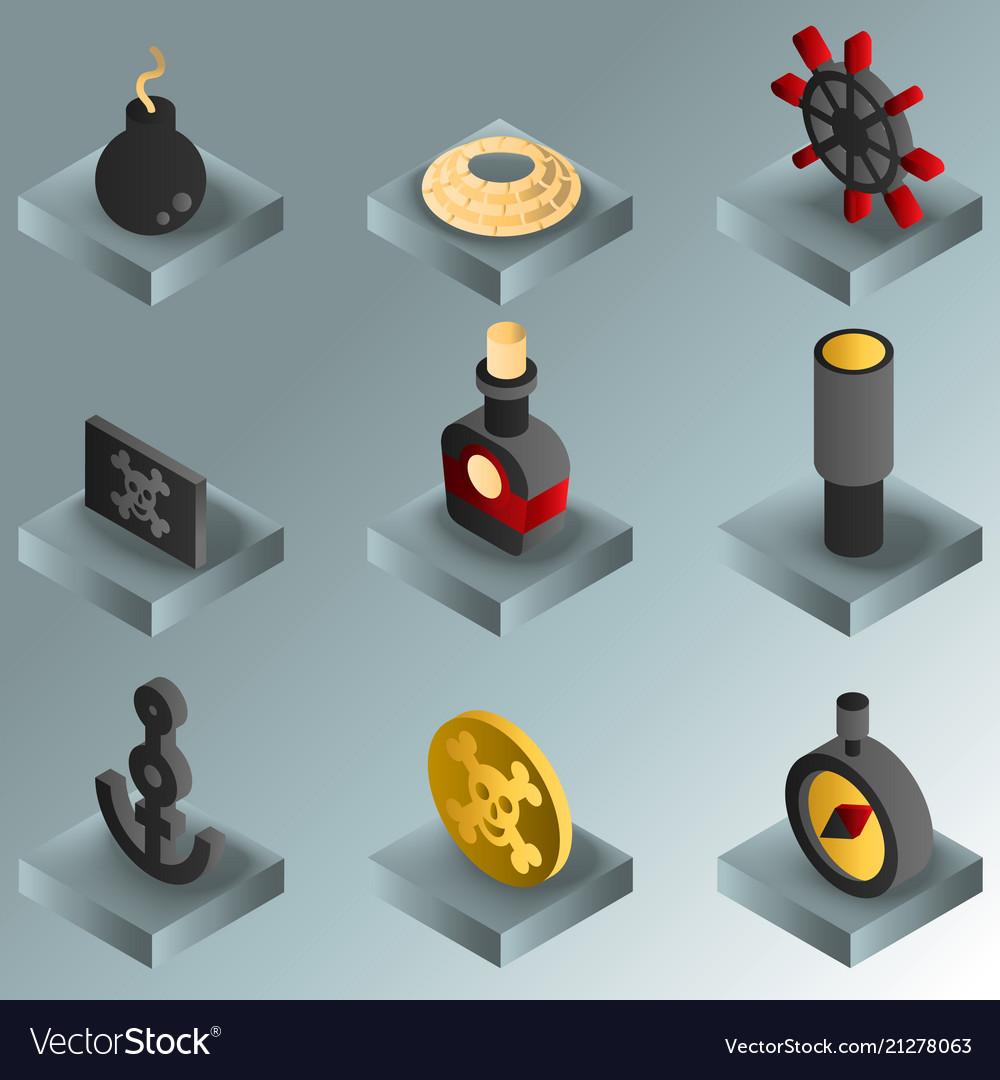 Piracy color gradient isometric icons