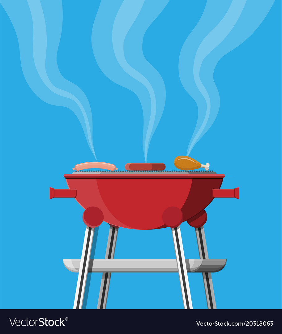 Round barbecue grill bbq icon electric grill