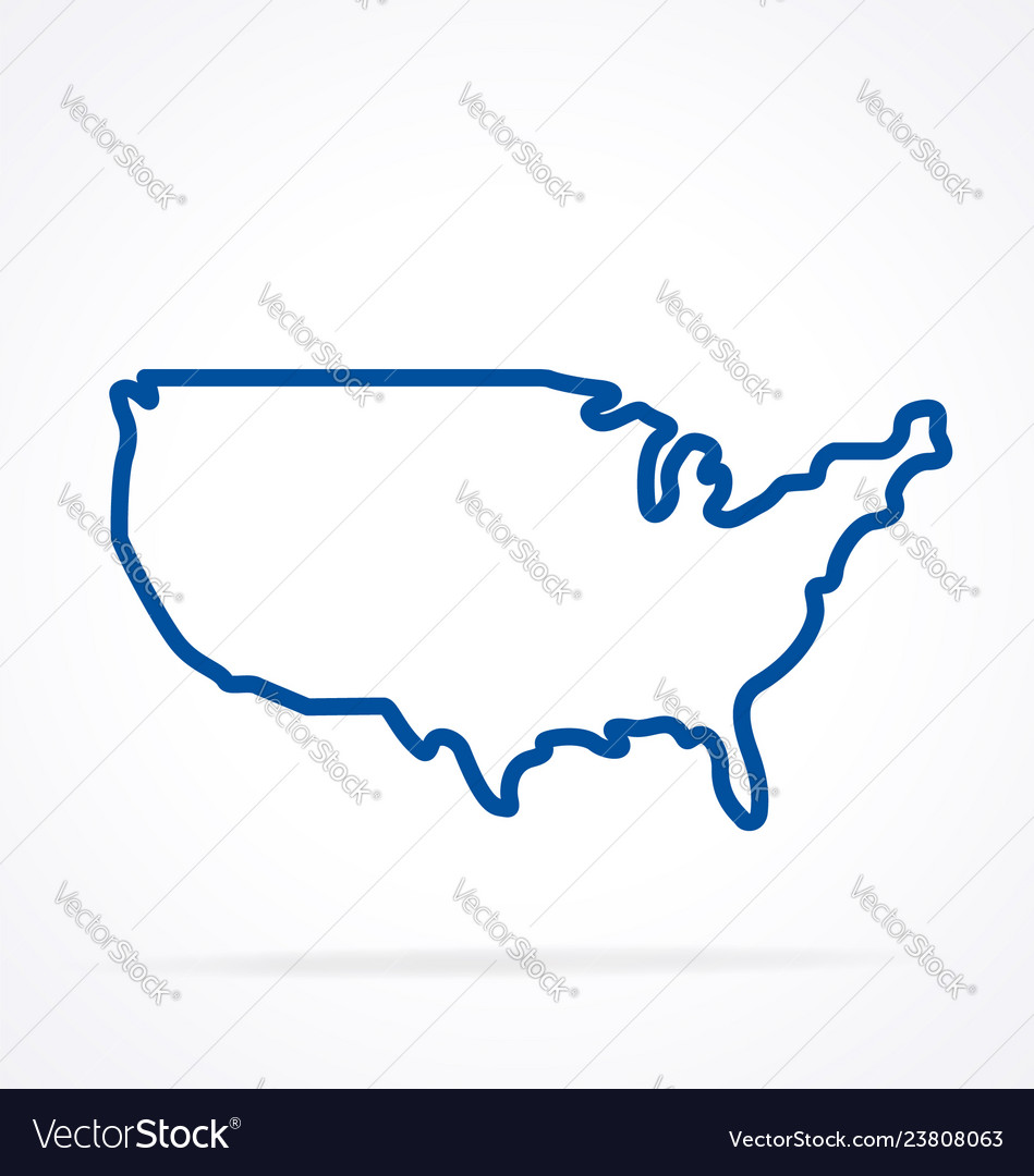 Simplified usa america map outline