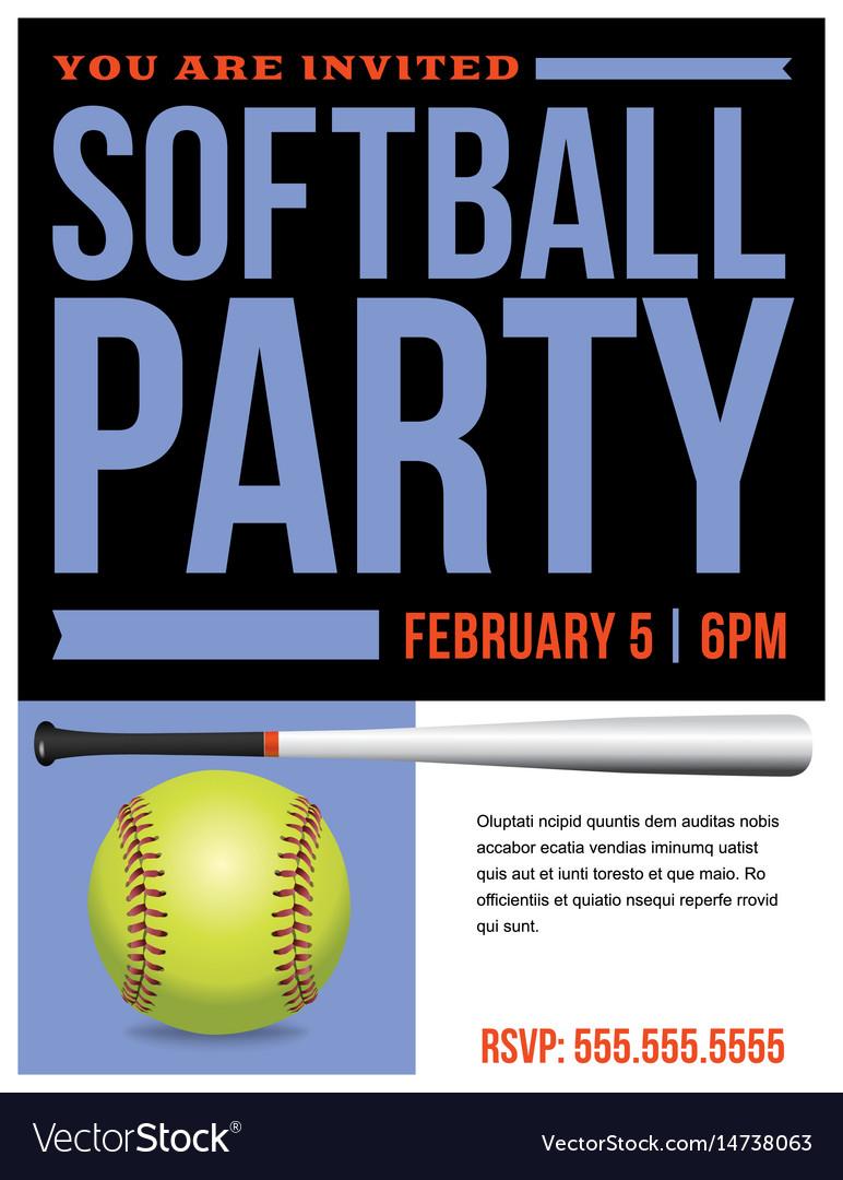 Softball party flyer invitation
