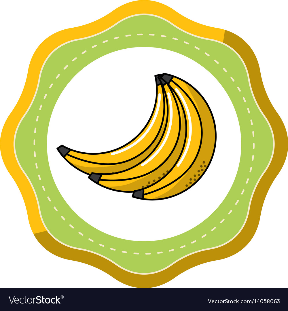 Sticker babanas fruit icon stock
