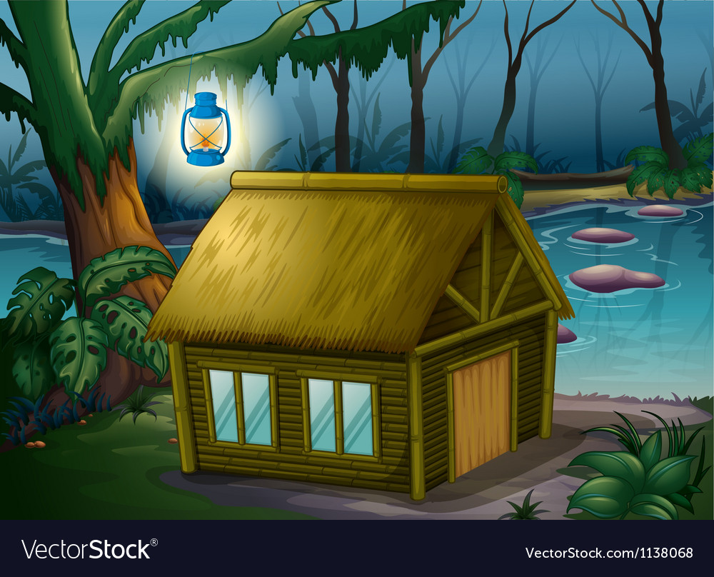 A bamboo house in the jungle vector image