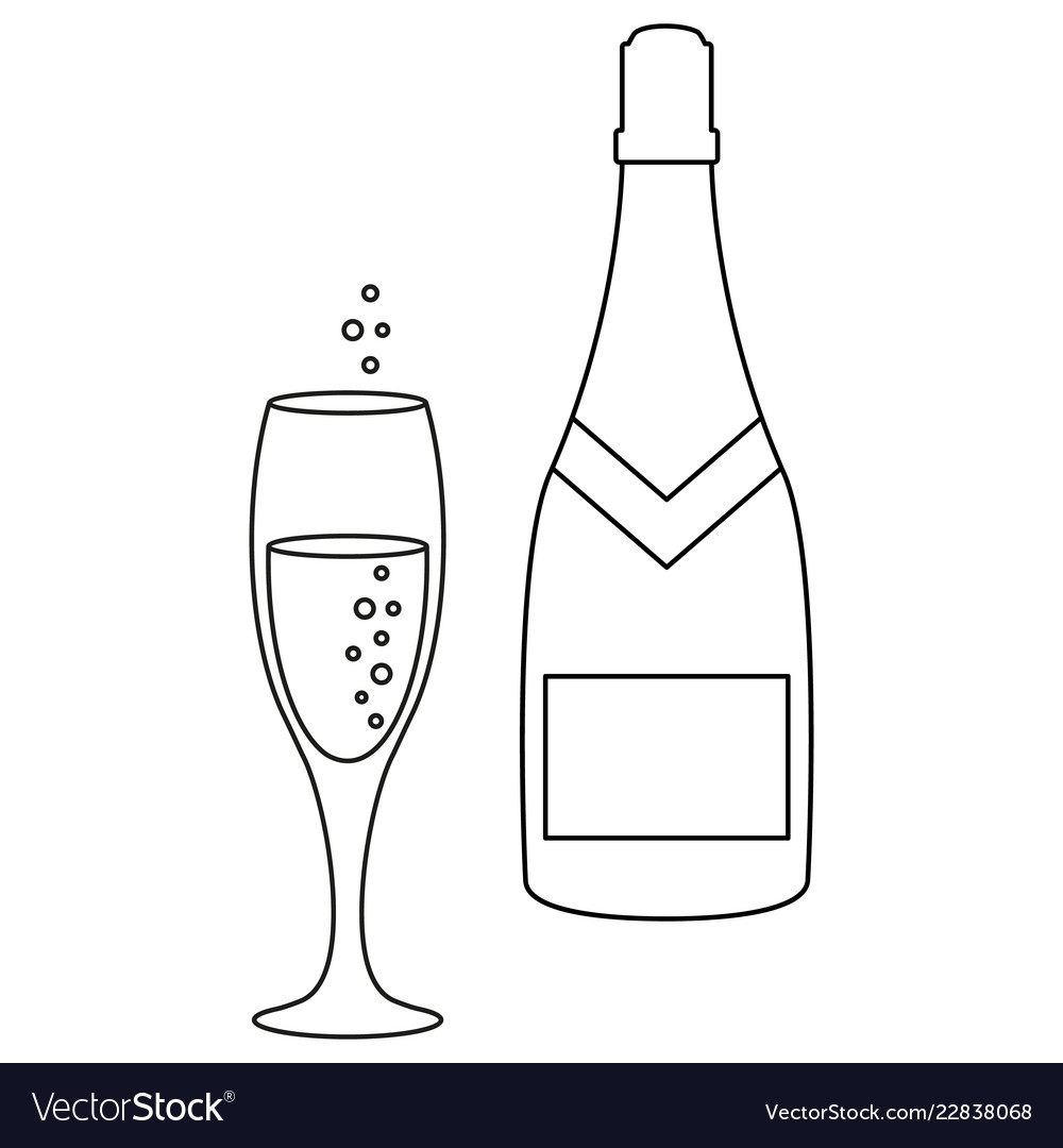 A glass and a bottle of champagne icons