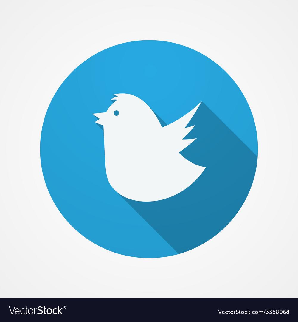 Bird social web or internet button Blue Fat Bird