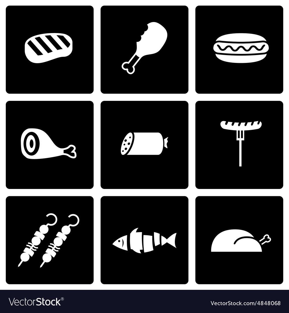 Black meat icon set