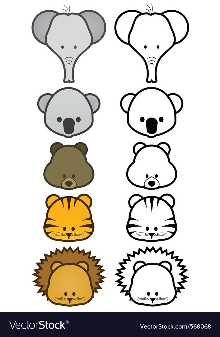 Cartoon zoo animals set