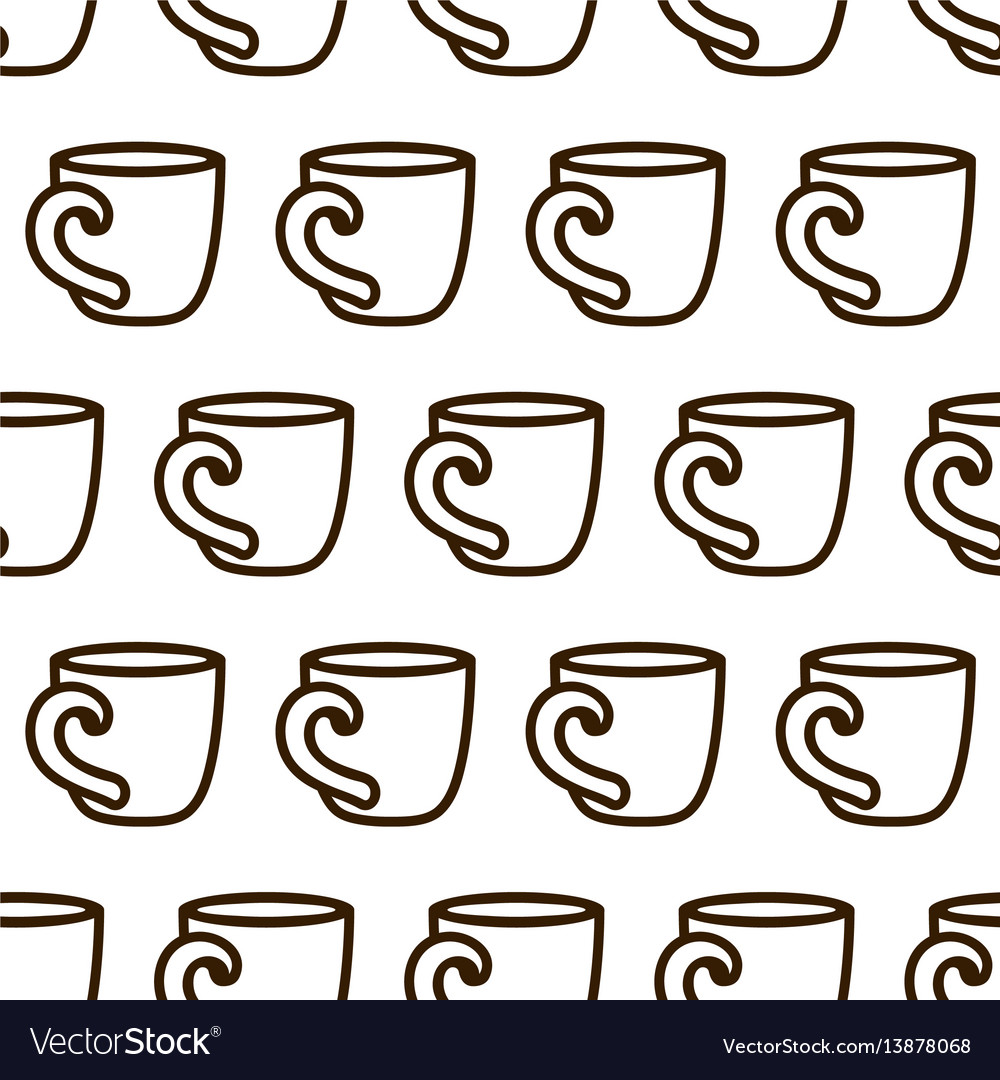 Coffee cup seamless pattern cute black and