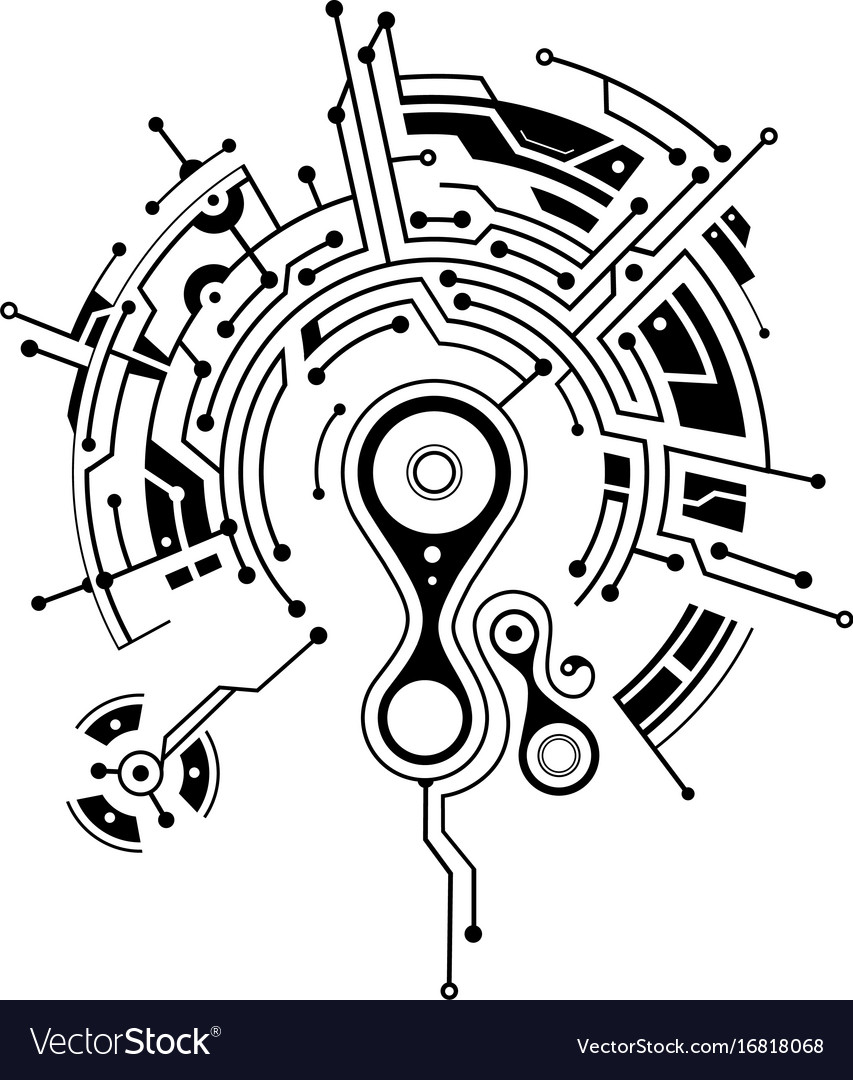 Elegant tattoo with circuit board elements Vector Image