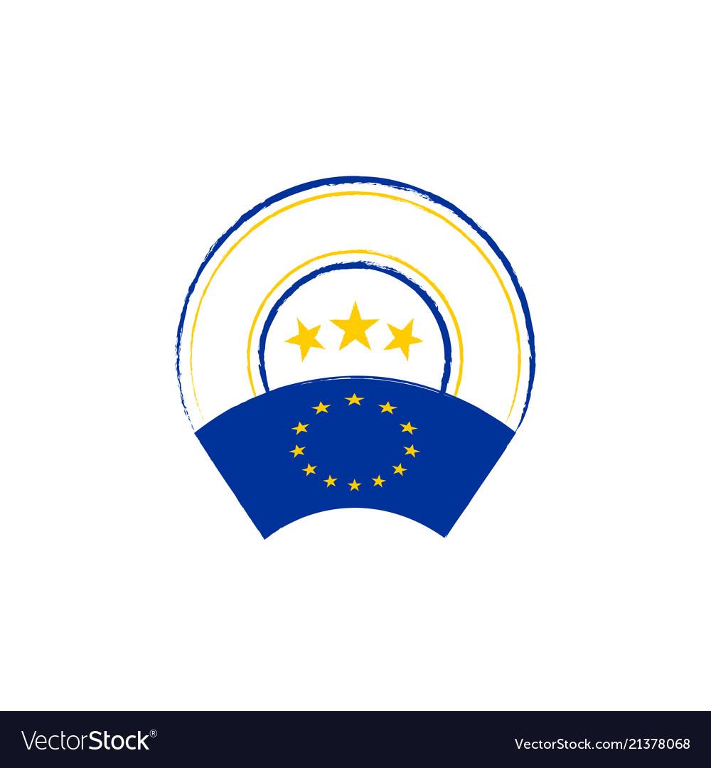 European union flag retro stamp
