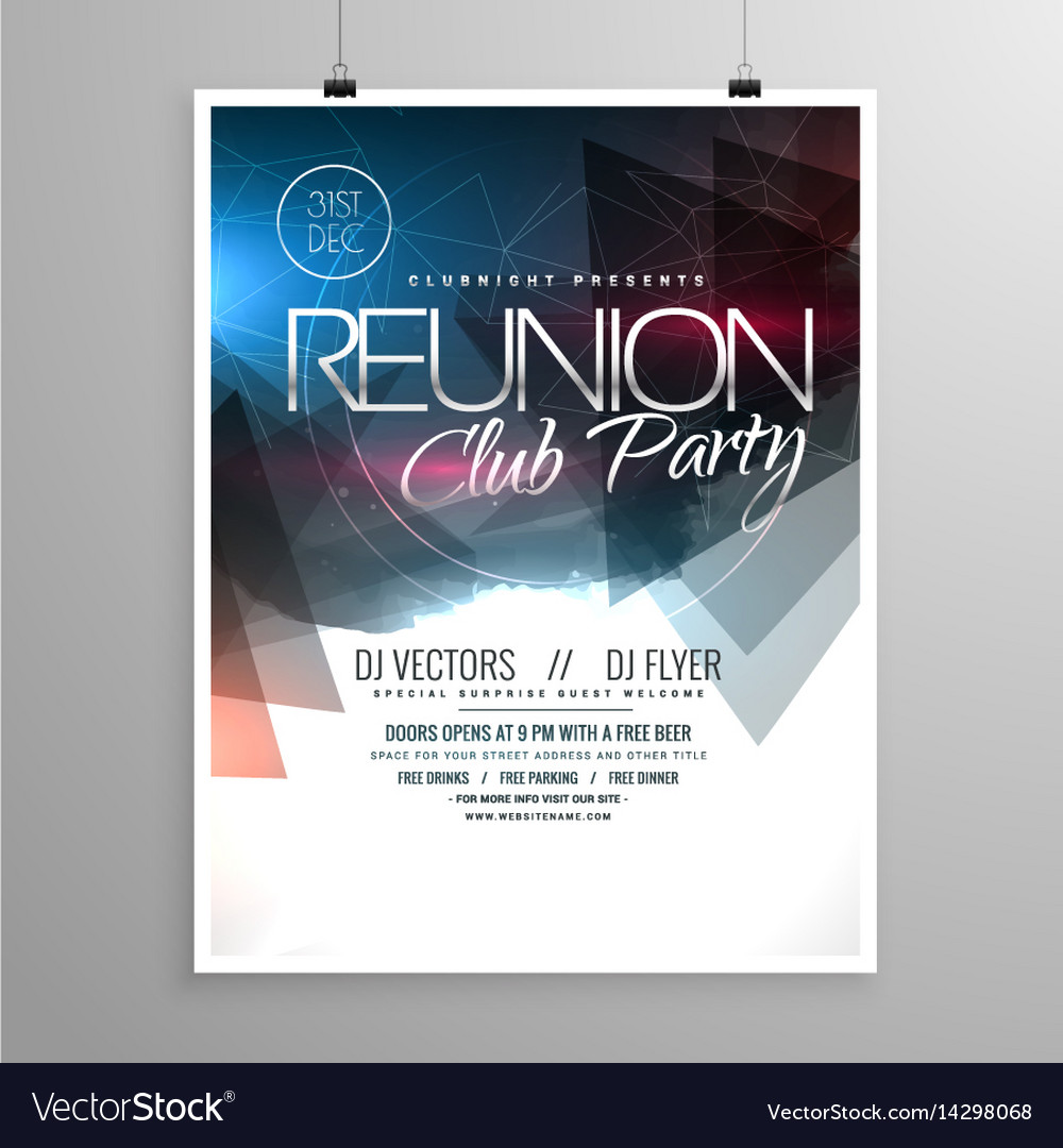 event club party flyer template brochure design vector image