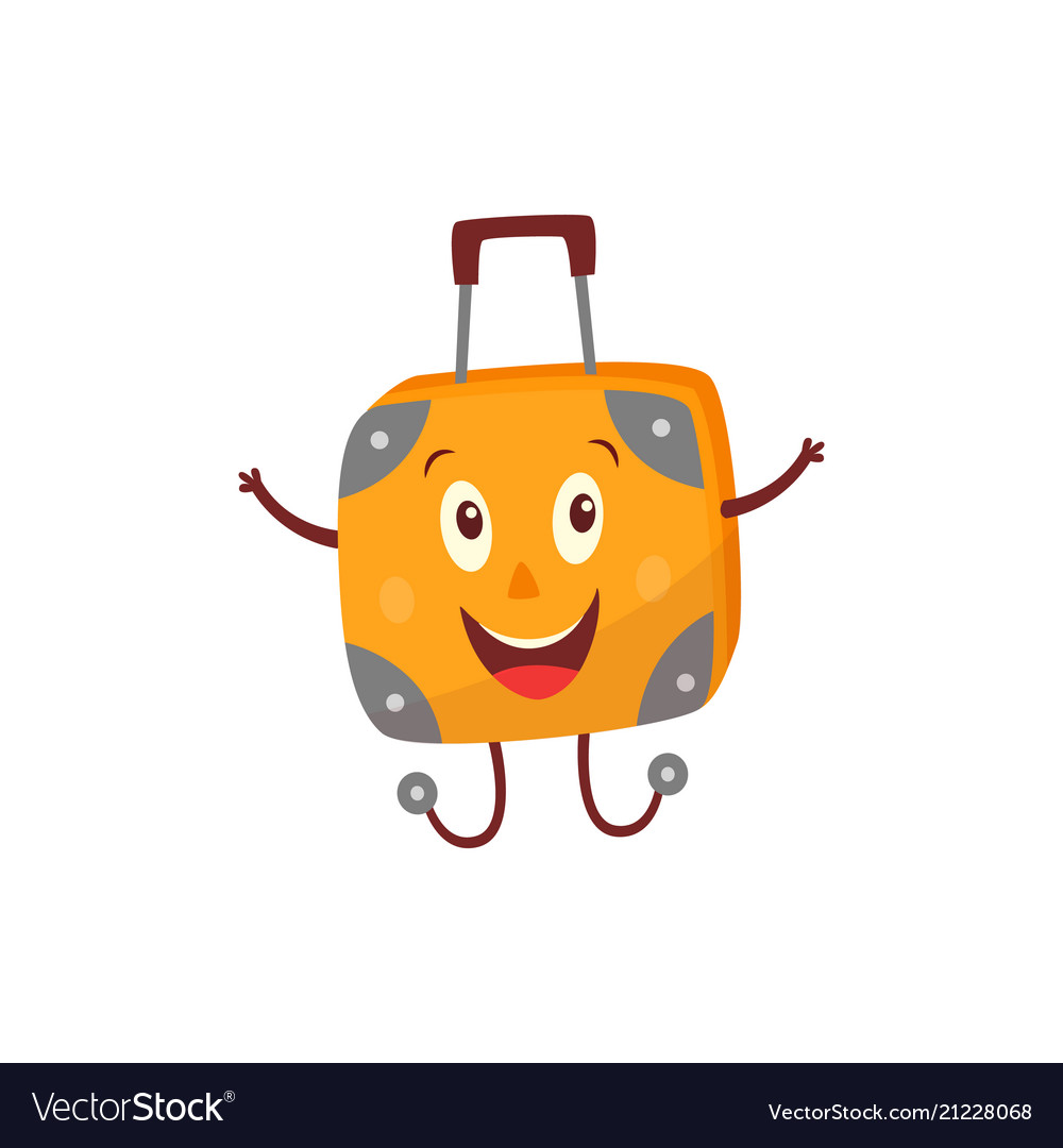 Flat travel bag suitcase character smiling