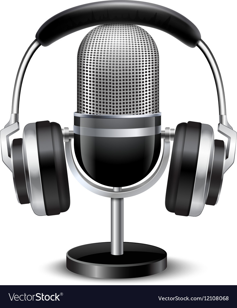 Microphone And Headphones Retro Realistic Image
