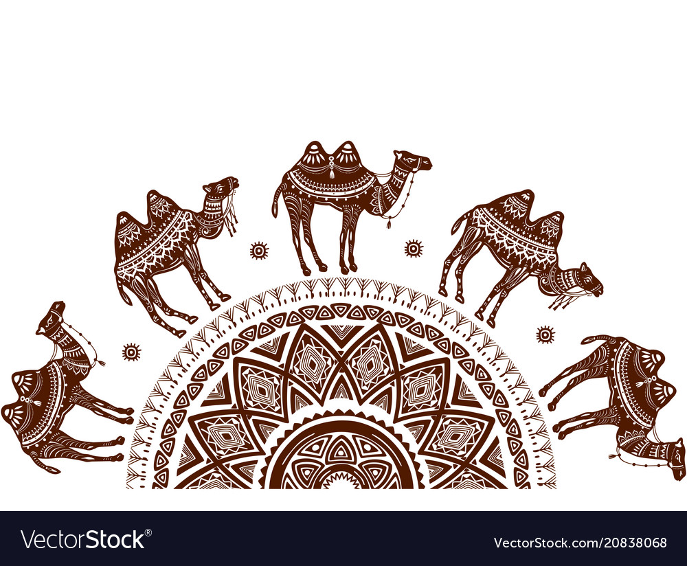 Pattern with decorated camels