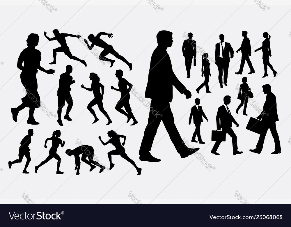 People walking and running silhouette