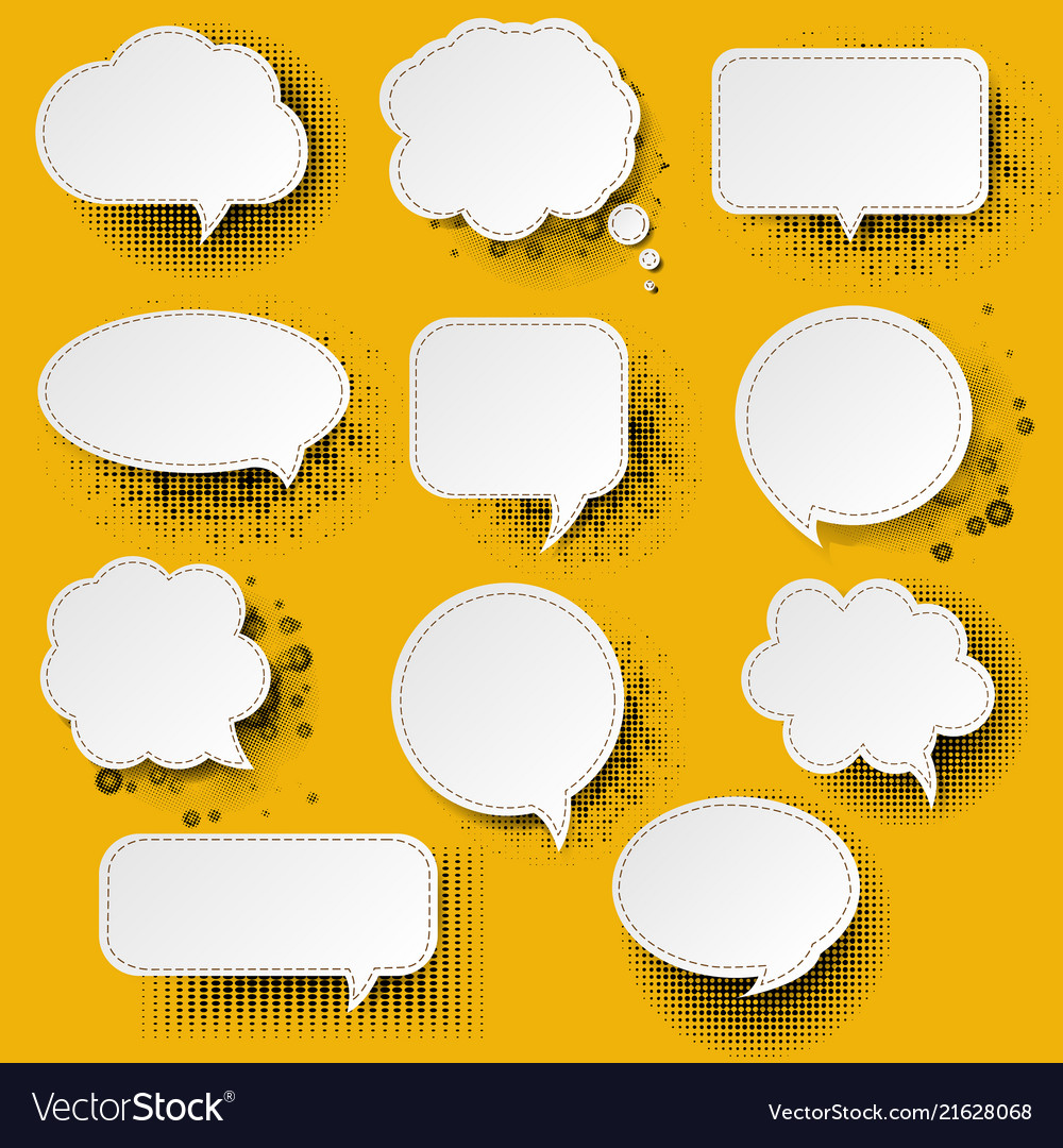 Retro speech bubble with yellow background