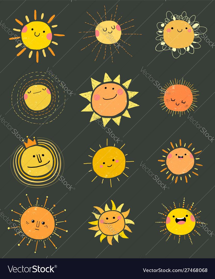 Set hand drawn cute sun icons