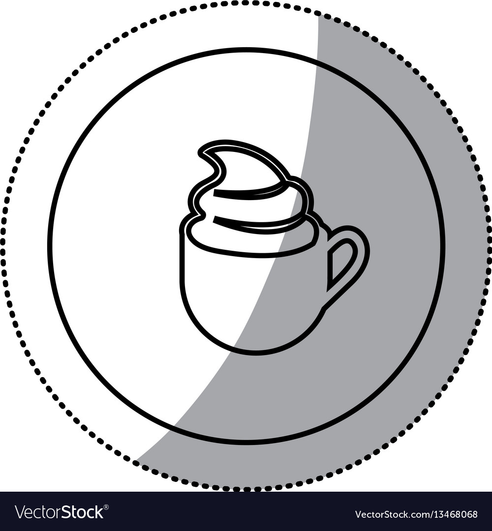 Silhouette emblem cup coffee with cream icon vector image