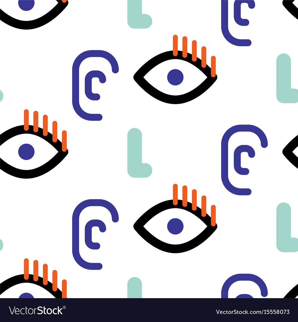 Abstract faces hipster seamless pattern vector image